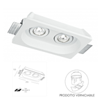 Faretto ad incasso 2 luci Morgana in gesso orientabile bianco 2XGU10 25,5X15,5cm - Fan Europe Intec INC-MORGANA-Q2