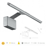 Applique per specchi o quadri in alluminio silver goffrato LED 5 watt 3000K - Fan Europe Intec LED-W-ALCOR/5W SIL