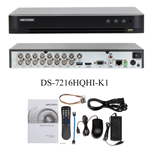 Videoregistratore digitale 16 canali 3MP pentaibrido con HDD da 1 TB Hikvision DS-7216HQHI-K1