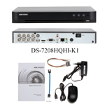 Videoregistratore digitale 8 canali 3MP pentaibrido con HDD da 1 TB Hikvision DS-7208HQHI-K1