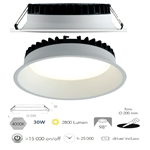 Faretto da incasso bianco in alluminio pressofuso LED integrato 30W 2800LM 4000K 22X5,5cm - Fan Europe INC-XANTO-M-R220