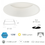 Faretto incasso bianco in alluminio pressofuso LED integrato 12W 1000LM 5000K 12X4,7cm - Fan Europe INC-XANTO-F-R120