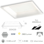 Faretto incasso bianco in alluminio pressofuso LED integrato 30W 2800LM 4000K 22X22X5,5cm - Fan Europe INC-XANTO-M-Q220