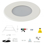Faretto da incasso LED per cromoterapia, docce e vasche Bianco 5W RGBW IP65 - Fan Europe INC-RAINBOW-M BCO