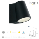 Applique Led SINTESI da esterno nero 6W 390LM 4000K IP44 - Fan Europe Intec LED-SINTESI-AP NERO
