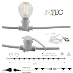Catena luminosa 10 portalampade E14, spina SCHUKO e cavo in gomma bianca 5mt IP44 - Fan Europe Intec I-PICNIC-E14-BCO