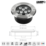 Faretto segnapasso led RGB da incasso a pavimento carrabile 12V 9X1W RGB IP68 - Lampo Lighting CARR/9W/RGB-C