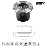 Faretto led da incasso a pavimento carrabile 12V 3W 6400K IP68 - Lampo Lighting CARR/3W/BF