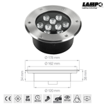 Faretto led da incasso a pavimento carrabile 12V 9W 6400K IP68 - Lampo CARR/9W/BF