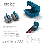 Mini box isolato in gel + 2 connettori Shell Box 222 - Etelec MJB222