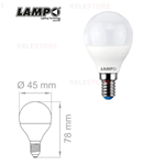 Lampadina LED a sfera bianco latte 6W E14 230V 220° 3000°K - Lampo SF456WE14BC