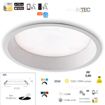 Faretto da incasso led bianco dinamico 30W RGB WIFI - Fan Europe INC-XANTO-R220-INT