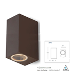 Applique da esterno QUBO biemissione corten 2XGU10 IP54 - Fan Europe Intec I-QUBO-AP2-BRO